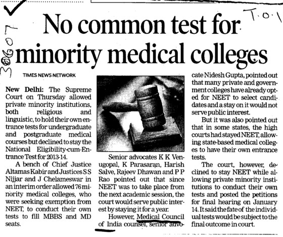 No common test for minority medical colleges (Medical Council of India (MCI))