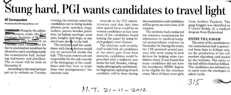 Stung hard, PGI wants Candidates to travel light (Post-Graduate Institute of Medical Education and Research (PGIMER))