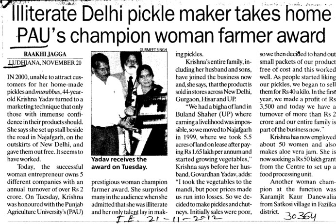 Delhi pickle maker takes home PAUs Champion woman farmer award (Punjab Agricultural University PAU)