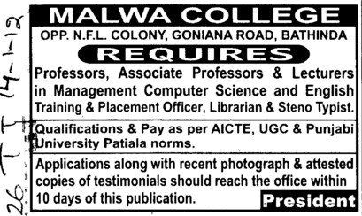 Professor, Associate Professor and Lecturers (Malwa College (earlier RCMT))
