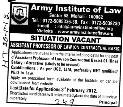 Asstt Professor of Law (Army Institute of Law)