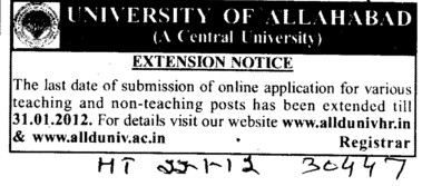 Teaching and Non Teaching posts (University of Allahabad)