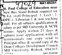 Principal, Lecturer and Librarian (St Paul College of Education)