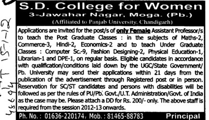 Female Asstt Professor (SD College for Women)