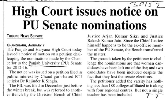 High Court issues notice on PU senate nominations (Panjab University)