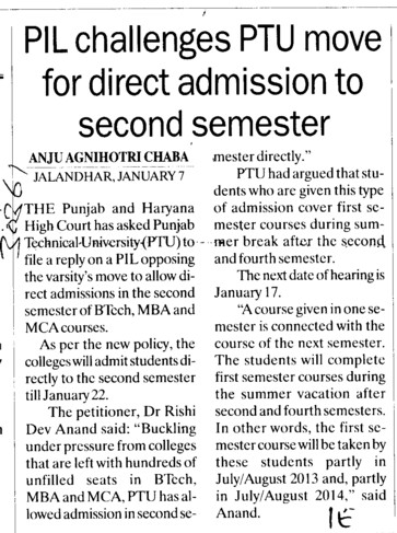 PIL challenges PTU move for direct admission to 2 nd sem (Punjab Technical University PTU)