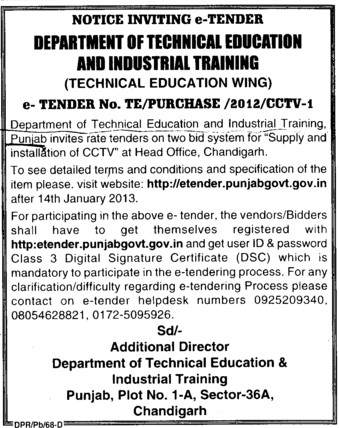 Supply of CCTV Cameras (Punjab State Board of Technical Education (PSBTE) and Industrial Training)