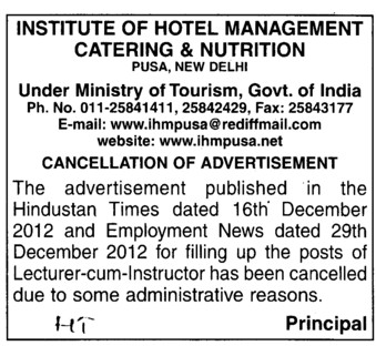 Cancellation of posts of lecturer cum instructors (Delhi Institute of Hotel Management and Catering Technology)