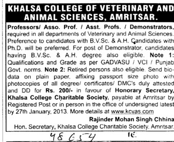 Profs and demonstrators for all depts (Khalsa College of Veterinary and Animal Sciences)