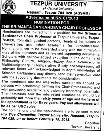 Nominations for Sankardev Chair Professor (Tezpur Central University)