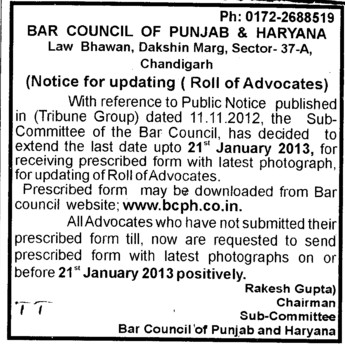 Roll of Advocates (Bar Council of Punjab and Haryana)