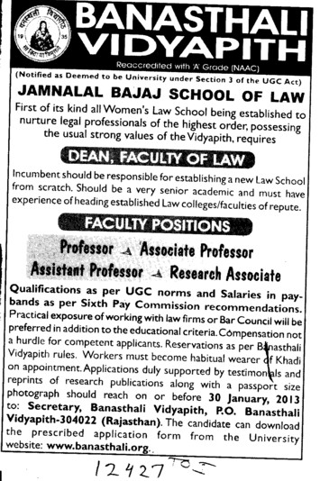 Dean Faculty of Law (Banasthali University Banasthali Vidyapith)
