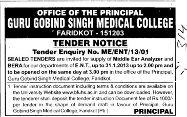 Middle Ear Analyzer and Bera (Guru Gobind Singh Medical College)