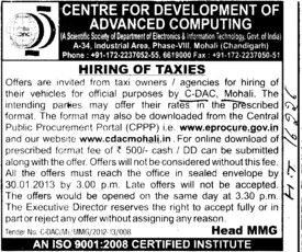 Hiring of Taxies (Centre for Development of Advanced Computing)