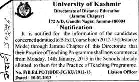 Practice of Teaching Programme (University of Kashmir Hazbartbal)