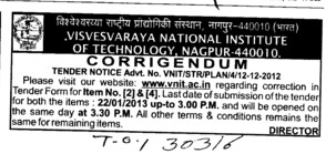 Correction in Tender (Visvesvaraya National Institute of Technology (VNIT))