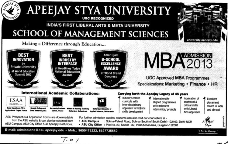 MBA Course (Apeejay Stya University)