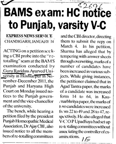 BAMS exam, HC notice to Punjab, varsity VC (Guru Ravidass Ayurved University (GRAU))