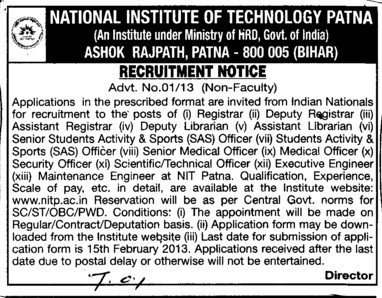 Deputy Registrar and Asstt Librarian etc (National Institute of Technology NIT)