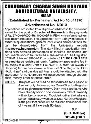 DIrector for Research (Ch Charan Singh Haryana Agricultural University (CCSHAU))