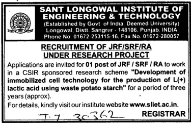 JRF and SRF (Sant Longowal Institute of Engineering and Technology SLIET)