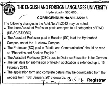 Professor and Asstt Professor (English and Foreign Languages University)