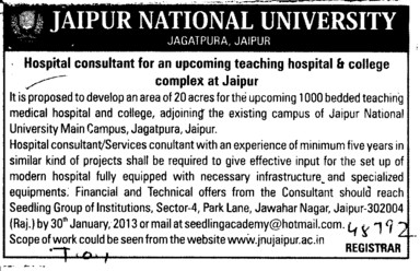 Hospital Consultant (Jaipur National University)