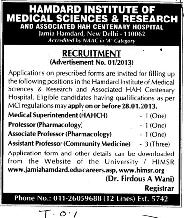 Medical Superintendent and Associate Professor etc (Hamdard Institute of Medical Sciences and Research)