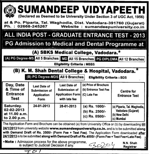 All India PG Entrance Test 2013 (Sumandeep Vidyapeeth University Piparia)