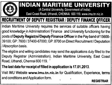 Deputy Registrar and Finance Officer (Indian Maritime University)