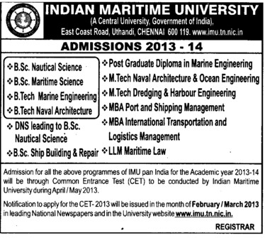 BSc, BTech and MBA in Maritime Science etc (Indian Maritime University)