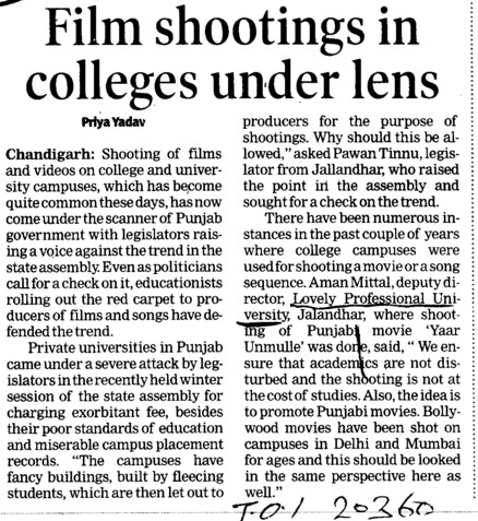 Film shooting in colleges under lens (Lovely Professional University LPU)