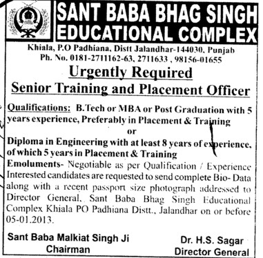Senior Training and Placement Officer (Sant Baba Bhag Singh Institute of Education)