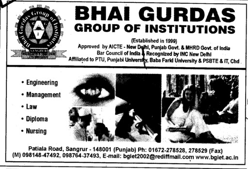 Engg, Law, Diploma and Nursing Courses (Bhai Gurdas Group of Institutions)