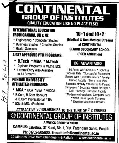 BTech, MTech and MBA Courses etc (Continental Group Institute Jalvehra)