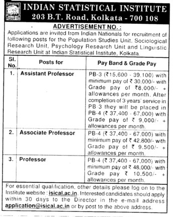 Professor, Asstt Professor and Associate Professor (Indian Statistical Institute)