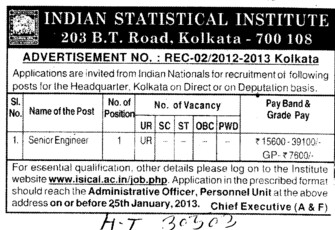 Senior Engineer (Indian Statistical Institute)
