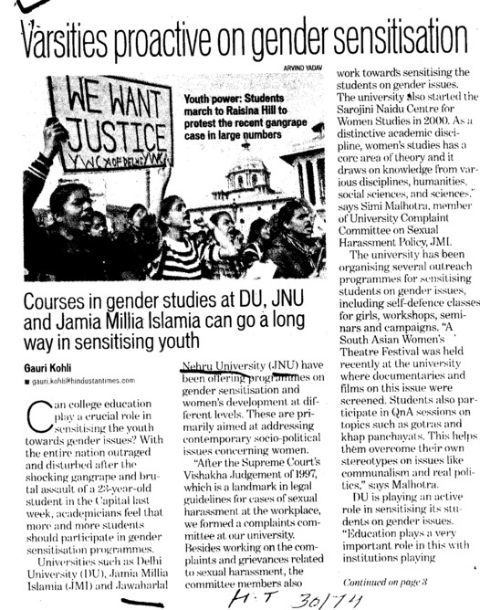 Varsities proactive on gender sensitisation (Jawaharlal Nehru University)