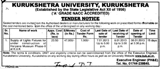 Supply of Lights Fixtures (Kurukshetra University)