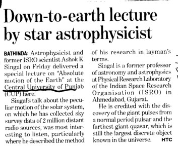 Down to earth lecture by star astrophysicist (Central University of Punjab)