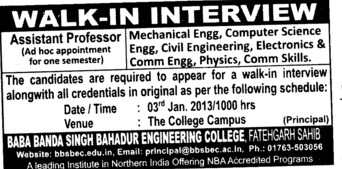 Asstt Professor for various streams (Baba Banda Singh Bahadur Engineering College (BBSBEC))
