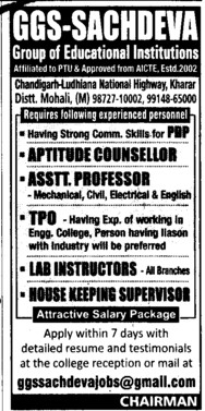Aptitude Counsellor and Asstt Professor (Rayat Institute of Engineering and Information Technology)