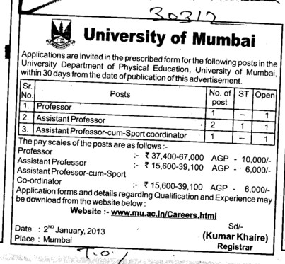 Professor and Asstt Professor (University of Mumbai (UoM))