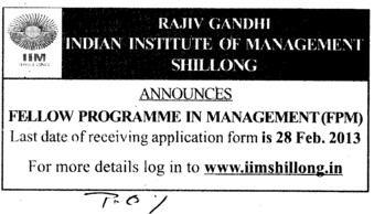 Fellow Programme in Management (Rajiv Gandhi Indian Institute of Management (RGIIM))