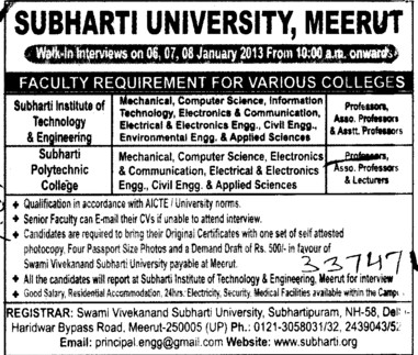 Professor, Asstt Professor and Associate Professor (Swami Vivekanand Subharti University)