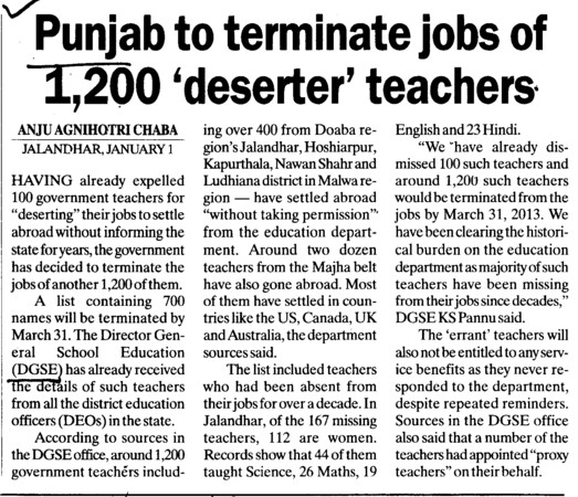 Punjab to terminate jobs of 1200 deserter teachers (Director General School Education DGSE Punjab)