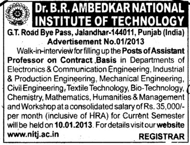Asstt Professor on contract basis (Dr BR Ambedkar National Institute of Technology (NIT))