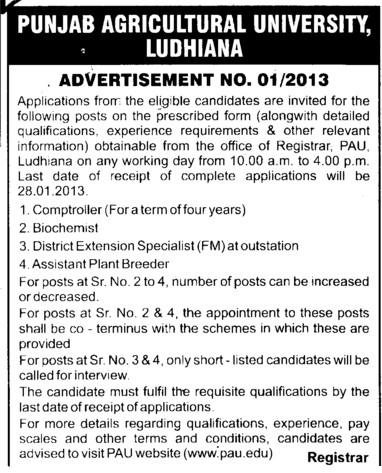 Comptroller and Biochemist etc (Punjab Agricultural University PAU)