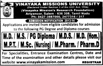 MD, MS and MDS Course (Vinayaka Missions University)