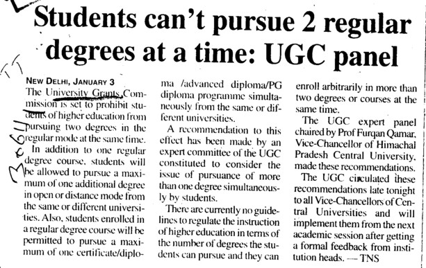 Students cant pursue 2 regular degrees at a time, UGC Panel (University Grants Commission (UGC))